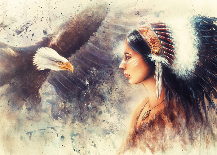 Illustration of a Native American woman next to her spirit animal, a large eagle