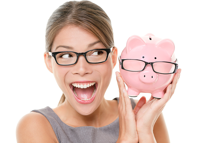 Young woman holding a piggy bank