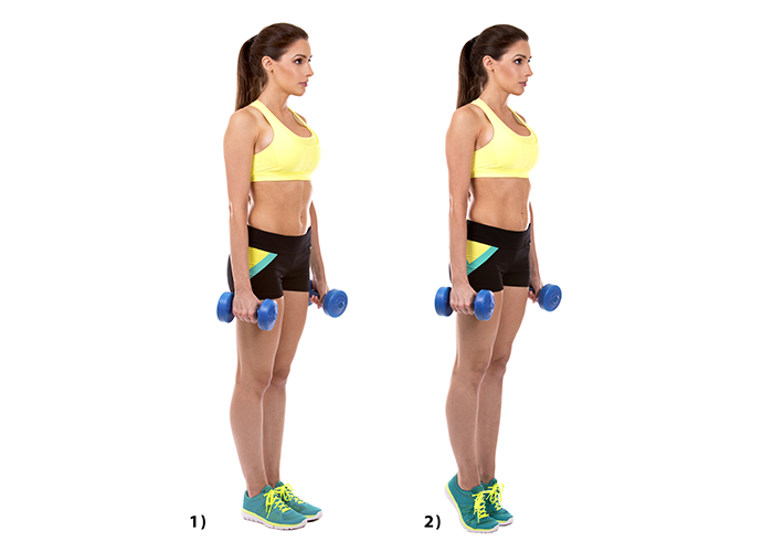 Woman doing weighted calf raise exercises with dumbbells.
