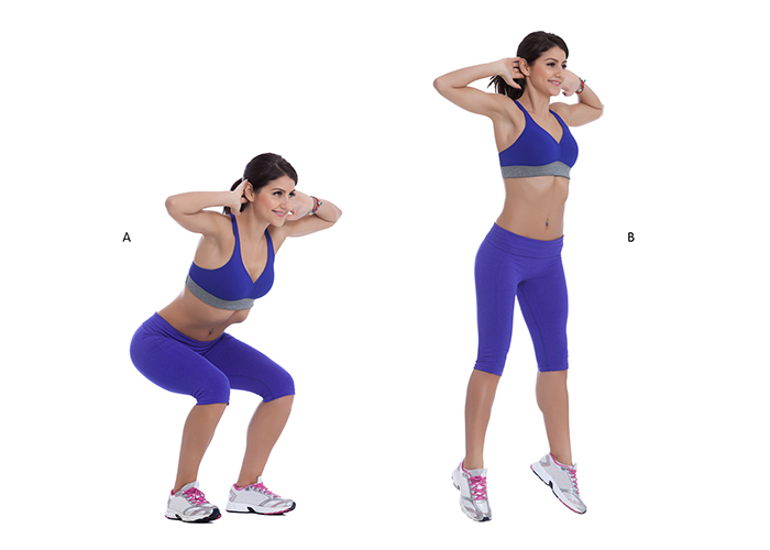 Woman doing jump squats for calf exercises.