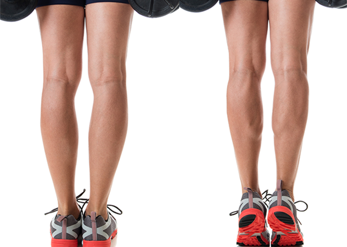 Two sets of calves side by side, one flexed doing calf exercises and the other not.