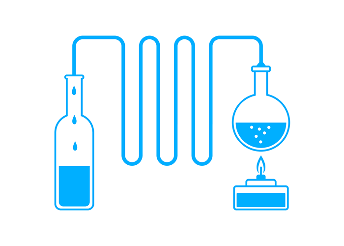 Graphic illustrating the distillation process