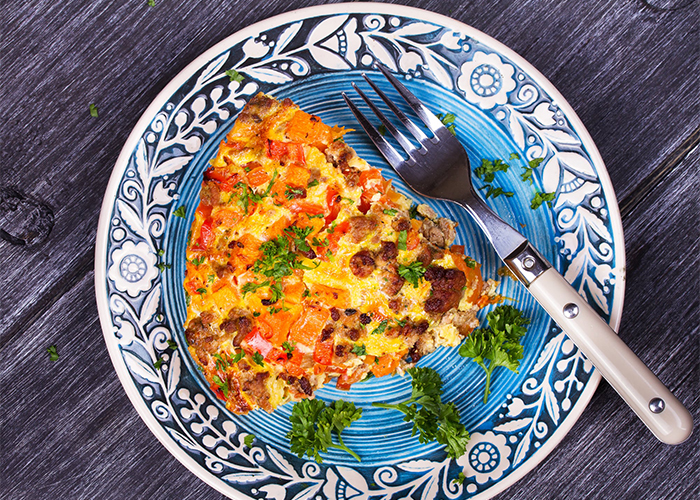 Butternut squash and sausage paleo breakfast casserole