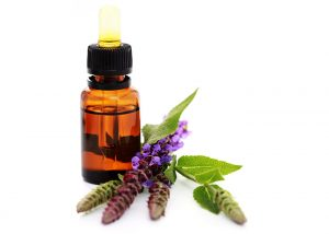 A bottle of clary sage essential oil blended with cedarwood essential oil