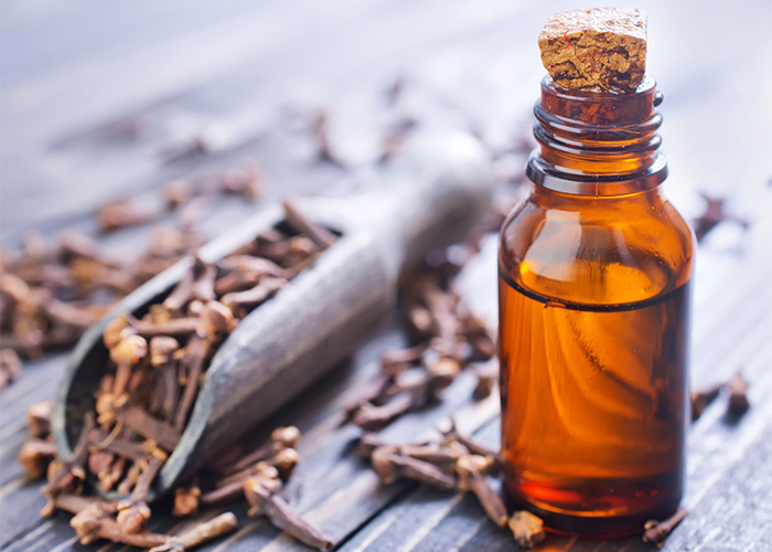 A bottle of clove and lavender essential oil blend