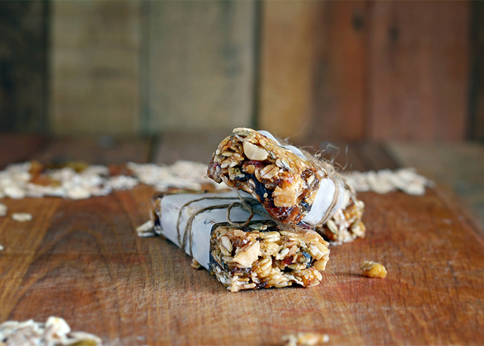 A stack of two homemade Keto protein bars