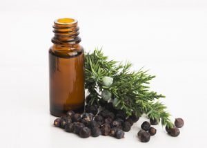 Bottle of juniper and cedarwood blend essential oil