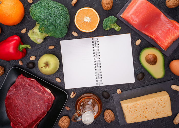 keto foods and notebook