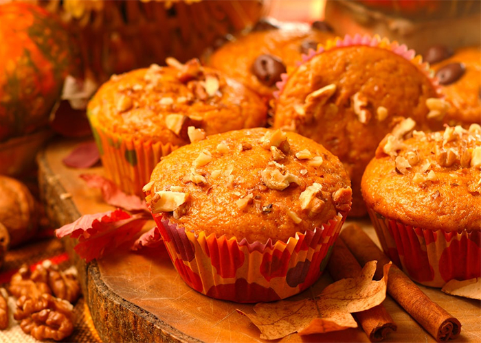 Keto pumpkin muffins with toppings