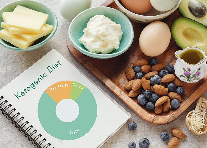 A Ketogenic diet planner surrounded by Keto-approved foods such as nuts, berries, and cheese