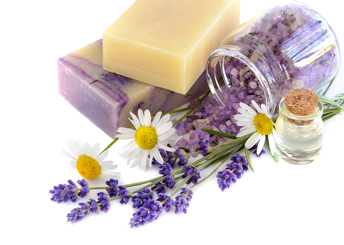 Lavender and chamomile soap essential oil blends soap bars and bath crystals for relaxation