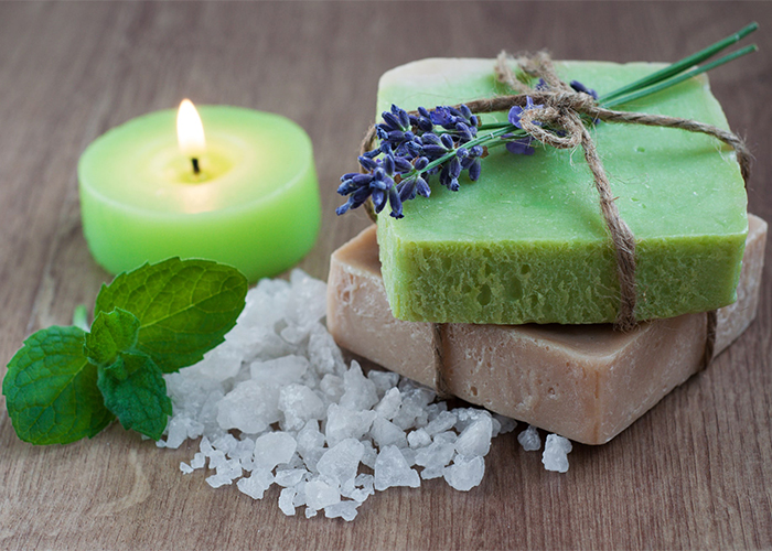 Lavender and peppermint soap essential oil blends made for sore muscles