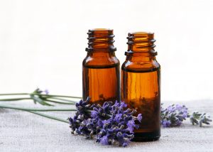Lavender essential oil bottles
