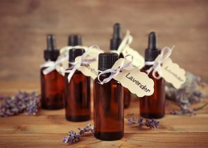 Bottles of lavender essential oil bottles for use on wrinkles