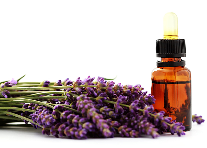A bottle of lavender essential oil next to a pile of fresh lavender
