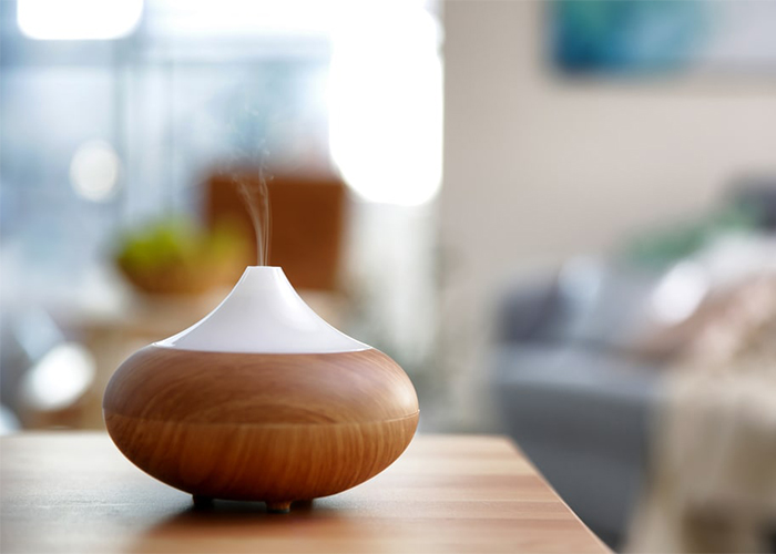 A diffuser in a bedroom