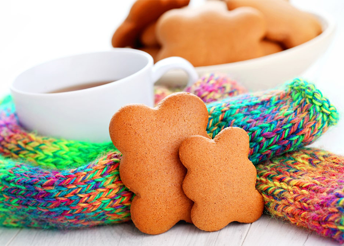 Paleo gingerbread cookies and a cup of tea