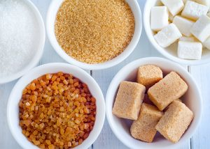 Bowls of different types of sugar