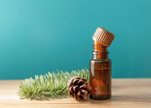 Bottle of anise essential oil blended with pine essential oil