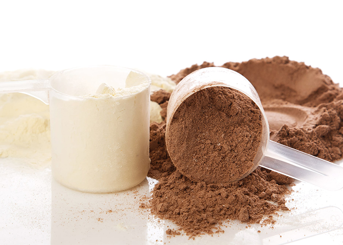 Vanilla and chocolate protein powders