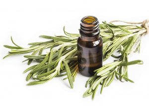 Bottle of rosemary and cedarwood blend essential oil