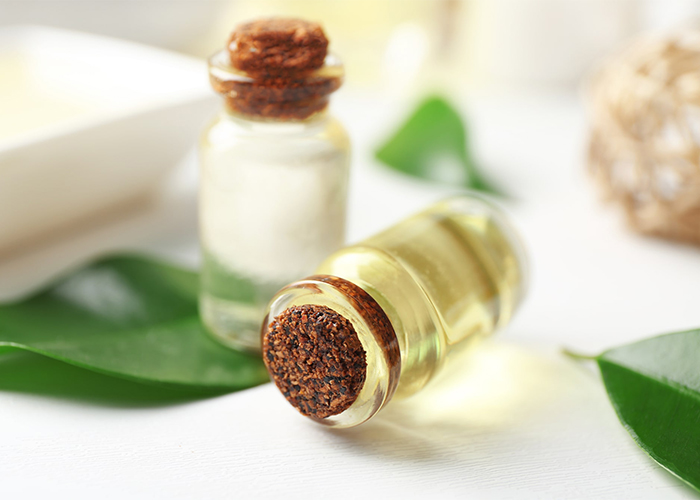 Lavender and tea tree oil blend in a bottle