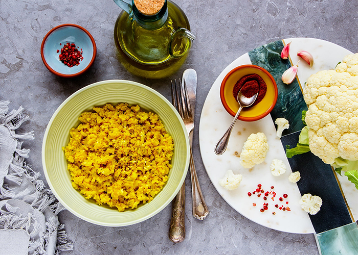 A freshly made vegetarian meal of Moroccan spiced cauliflower