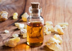 Bottle of frankincense myrrh blend for gut health