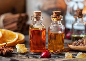 Bottles of frankincense and myrrh essential oils