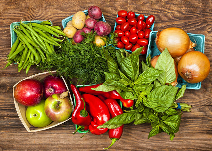 Different varieties of fruits and vegetables for a Paleo diet