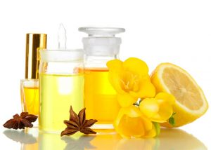 An array of lemon essential oil bottles for skin problems