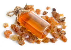 Myrrh essential oil bottle for healing skin wounds