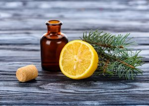 A bottle of homemade lemon essential oil for dermatitis relief