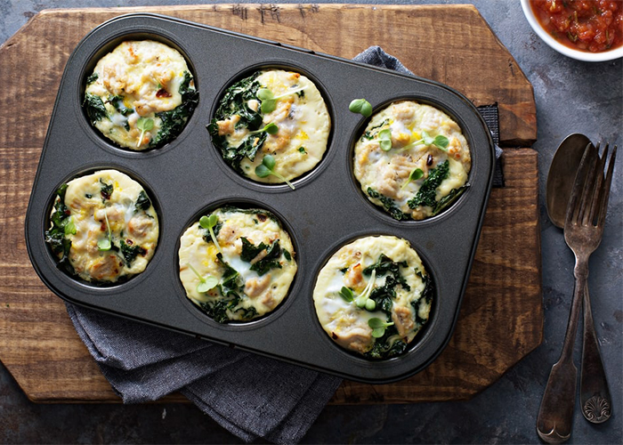 Paleo breakfast muffins in oven tray