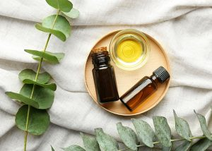 Top-down view of ginger and eucalyptus essential oil blends next to branches of eucalyptus leaves