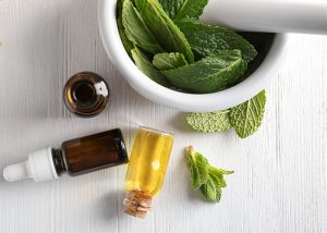 Top-down view of ginger and peppermint essential oil next to a mortar filled with fresh peppermint leaves.