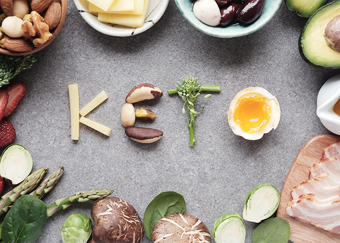 Keto spelled out with Keto-friendly foods