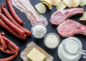 An array of foods with saturated fats such as cold cut meat, fresh meat, butter, and cream