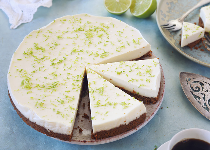 Freshly made Keto cheesecake topped with lime zest