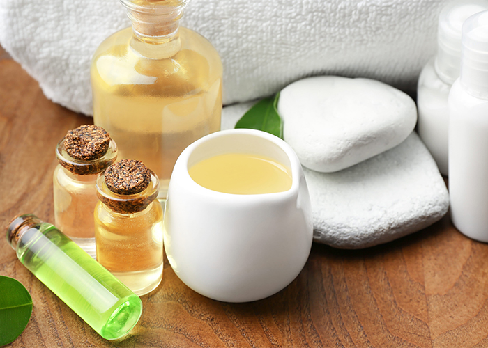 Manuka essential oil products prepared for a spa treatment
