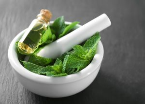 A pestle and motar filled with peppermint leaves and a bottle of peppermint essential oil