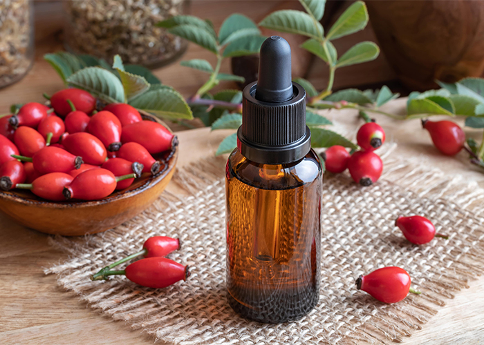 A dropper bottle of rosehip seed oil surrounded by rosehip fruits