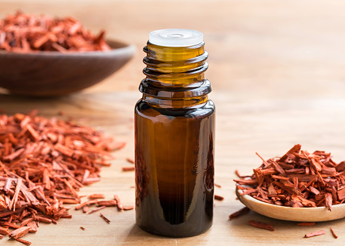 A close up of a sandalwood essential oil next to piles of sandalwood