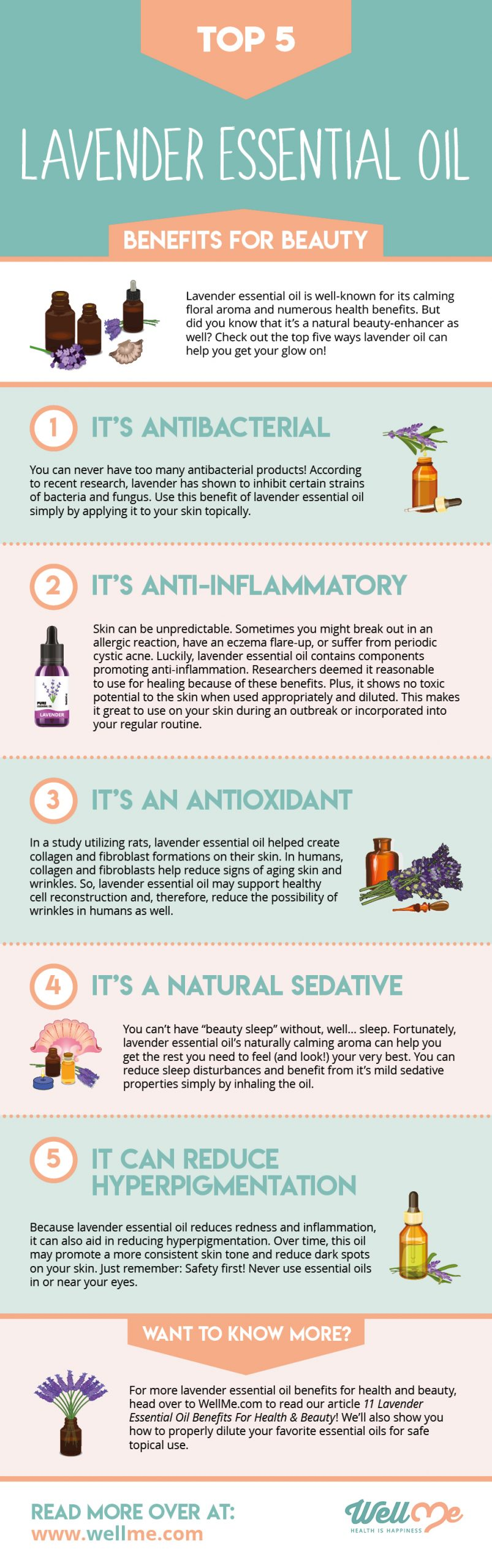 Top 5 Lavender Essential Oil Benefits for Beauty infographic