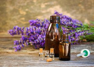 Small and large bottles of lavender essential oil with sprigs of lavender in the lavender