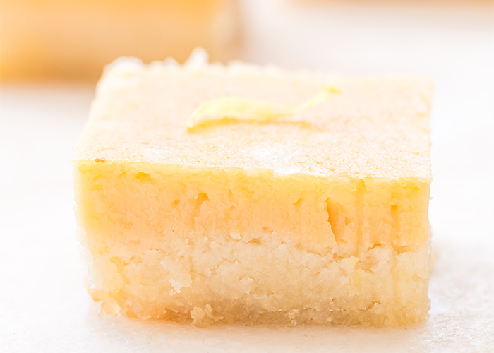 Closeup of a Paleo gluten-free lemon bar
