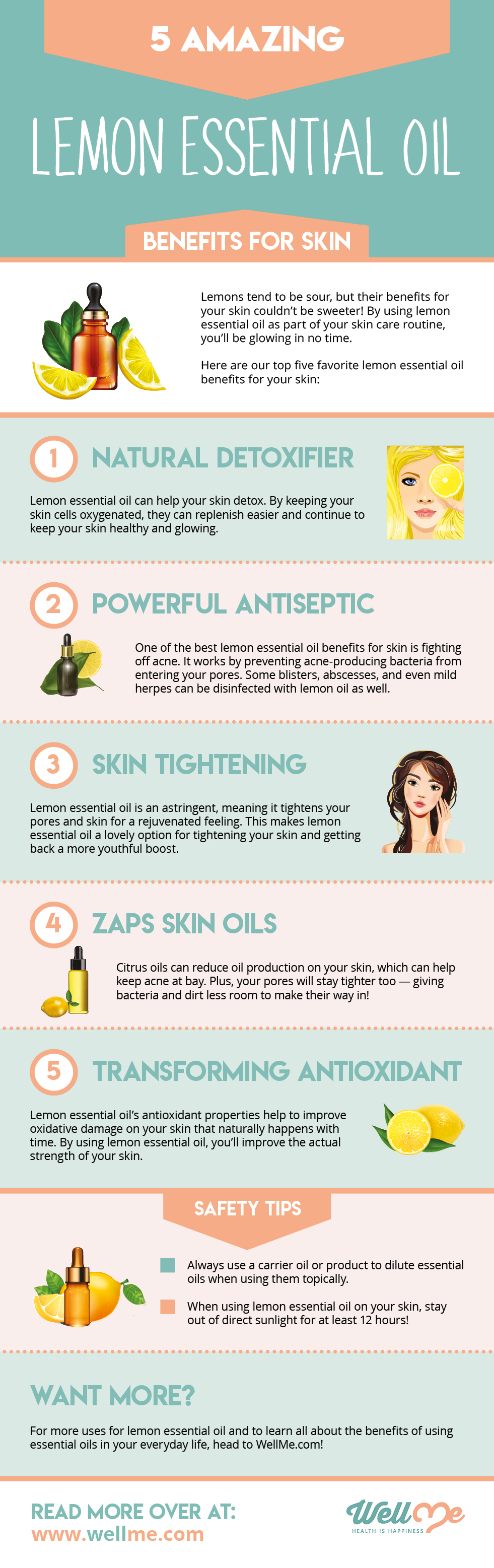 5 Amazing Lemon Essential Oil Benefits for Skin infographic