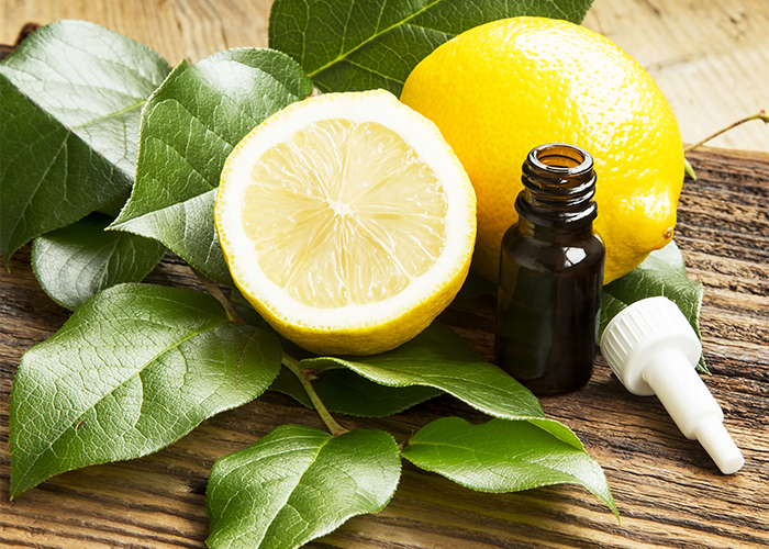 A bottle of lemon essential oil with a dropper next to whole and halved lemons