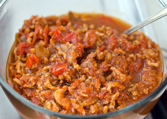 A closeup of a bowl of homemade one pot Keto chili recipe